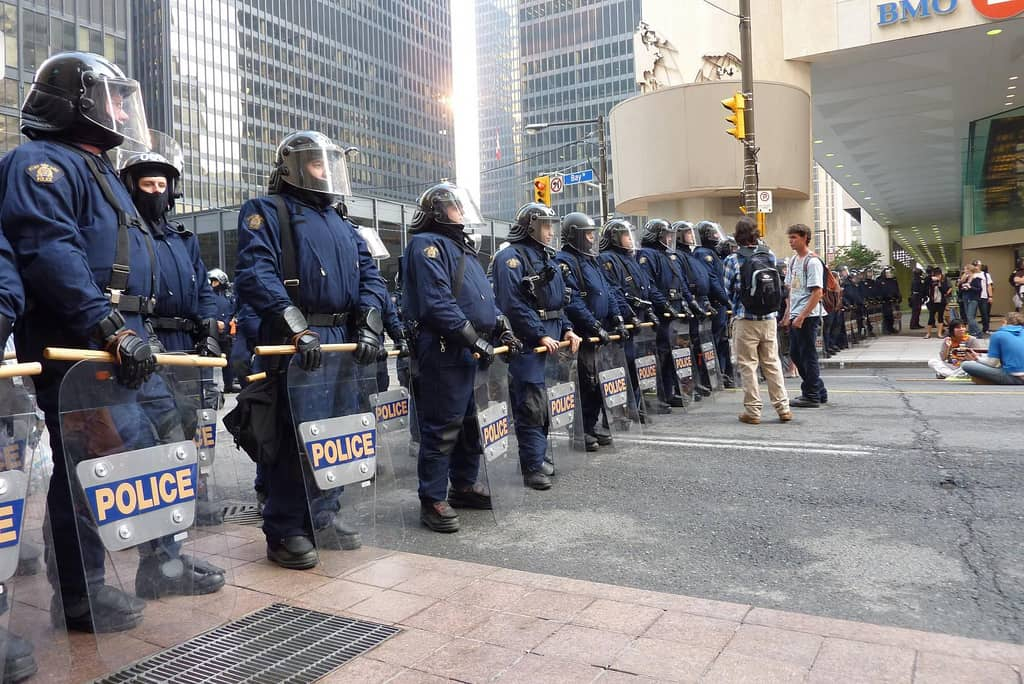 A police barricade on Bay Street during the G20 Summit. ANDREWARCHY/FLICKR