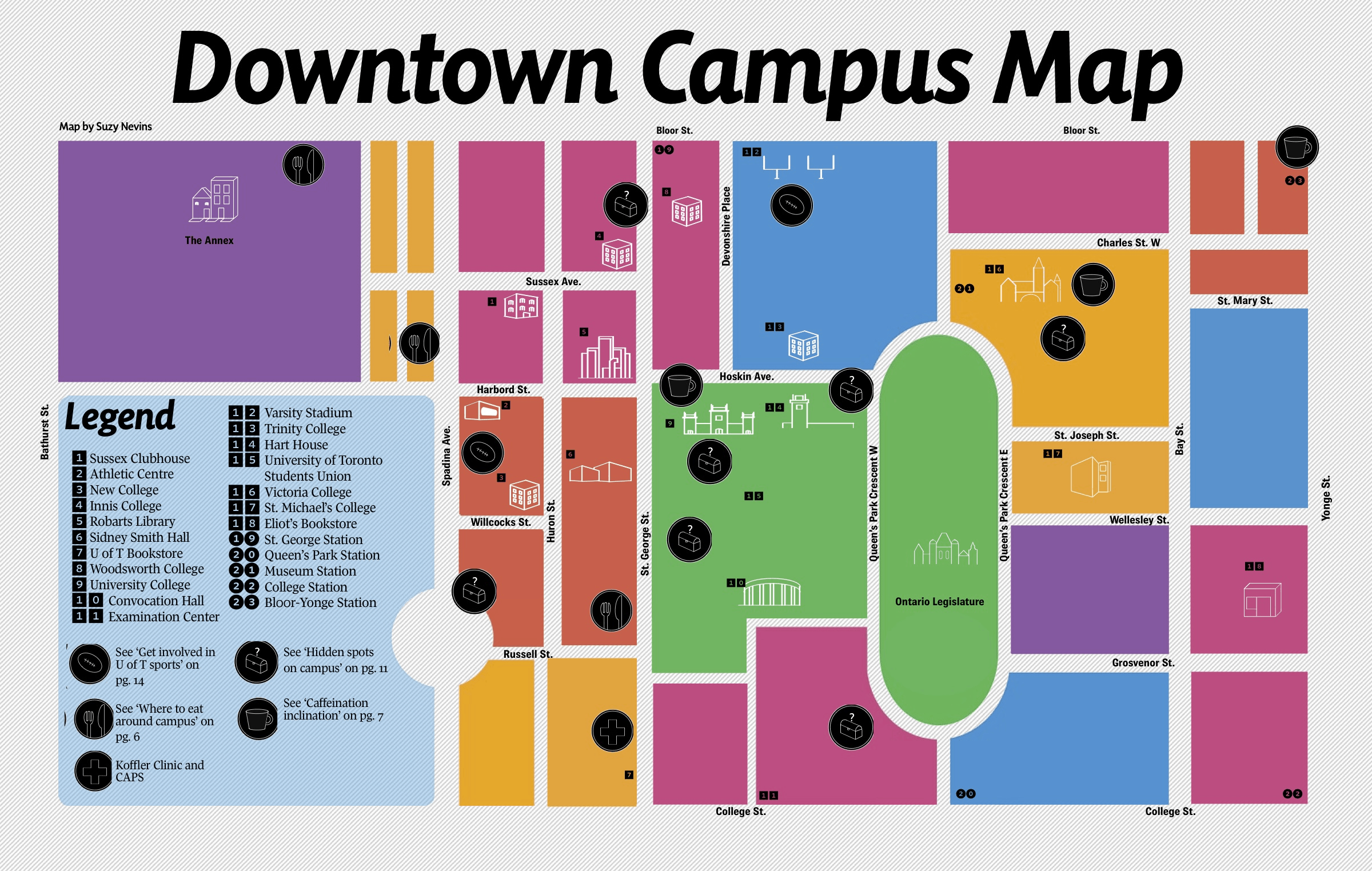 u of t campus map Downtown Campus Map The Varsity