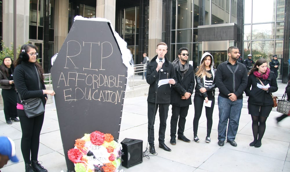 Ontario students' unions hold funeral for accessible education
