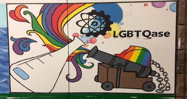 The vandalized mural. PHOTO COURTESY LGBTQASE