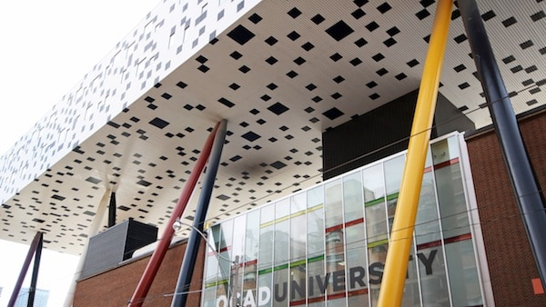 OCAD's Sharp Centre for Design rises high above McCaul Street. ADAM ZACHARY/THE VARSITY