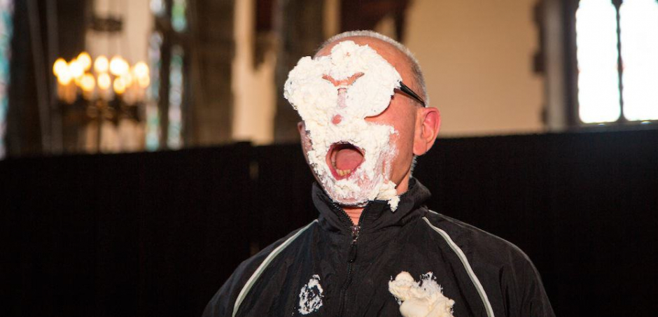 Professors pied for charity