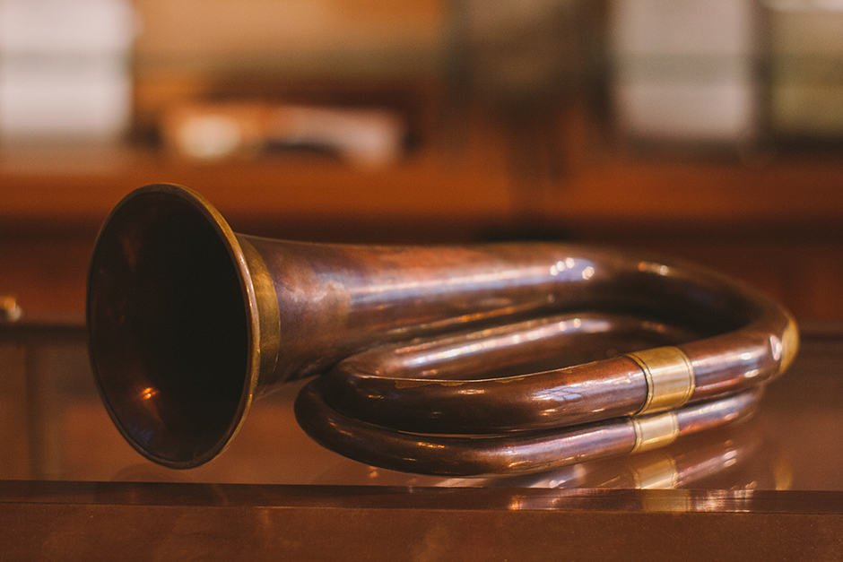 This bugle was the first to call the University of Toronto Contingent COTC to arms. It belonged to Lieutenant A. Harold Goodman of the 116th Battery CEF, who fell at Amiens on August 8, 1918. JENNIFER SU/THE VARSITY