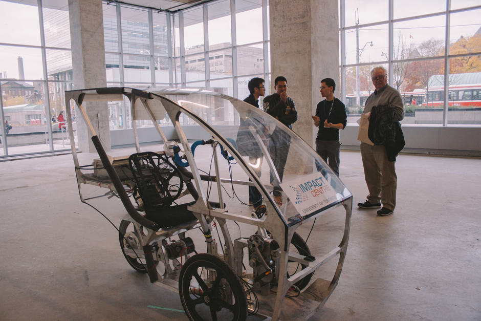 The electric car-bike developed by Phil Lam of the Department of Mechanical and Industrial Engineering and Jonathan Lung of the Department of Computer Science.