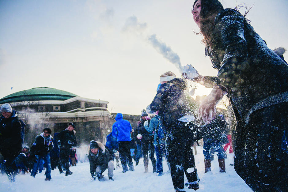 In photos: Hundreds of students descend on front campus for snowball fight