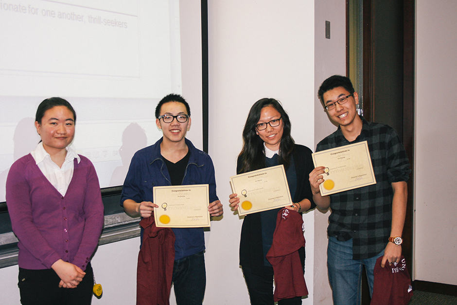 Alice Zhu (left) president of InnovaMasters with this year's design competition winners. HAMAN MAMDOUHI/THE VARSITY