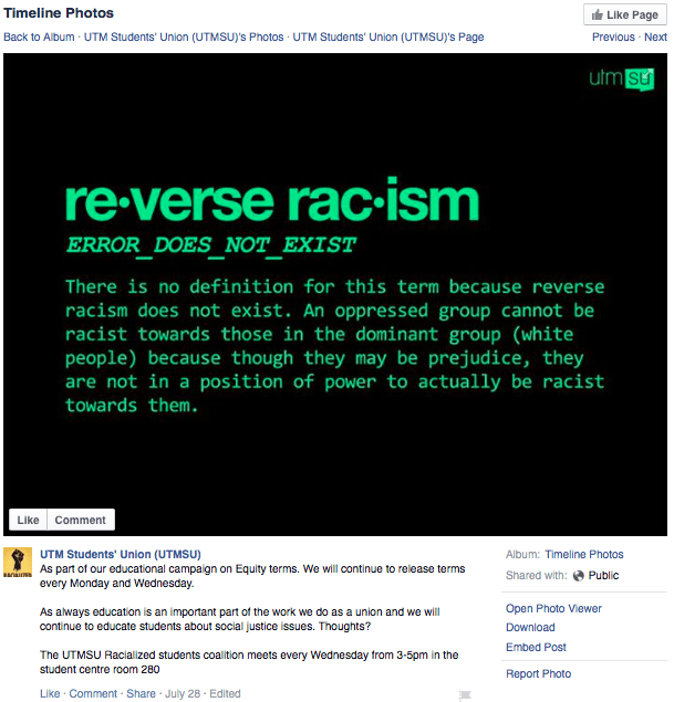 "UTMSU ""reverse racism"" post faces criticism"
