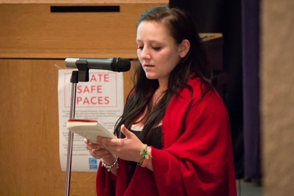 Grayce Slobodian speaking at the 2015 AGM. Mallika Makkar/THE VARSITY