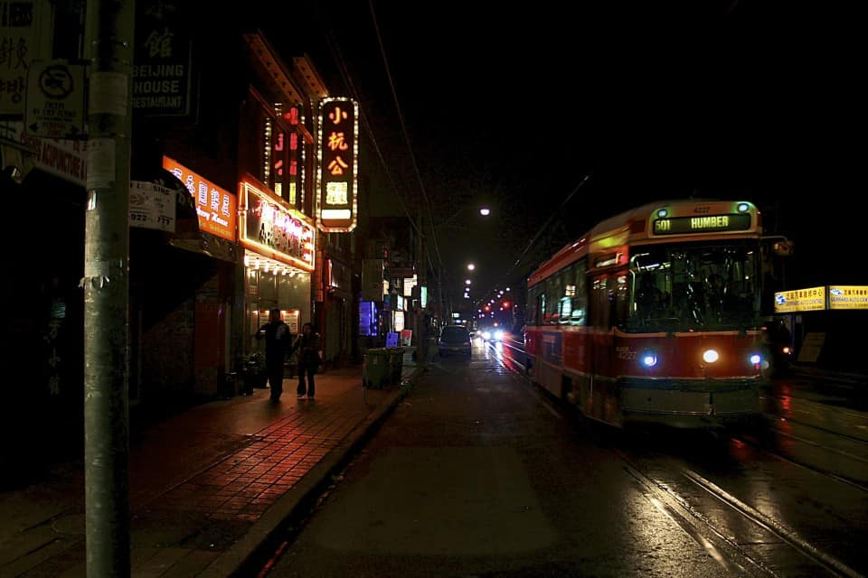 Photo of the 501 streetcar in Chinatown. CC Flickr by Don Gunn.