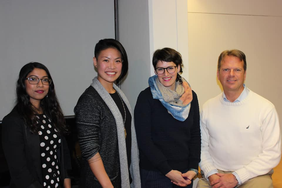 Panelists Shawn Sheridan, Day Milman, and Christine Hsu at the Linked Oppressions event.  Emma Kikulis/THE VARSITY