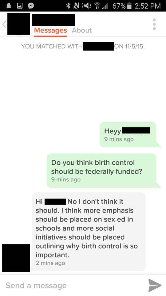 We asked our Tinder matches if they think that birth control should be federally funded