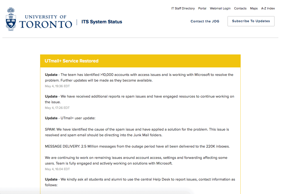 A screenshot of the system status page as of the morning of May 5. VIA UNIVERSITY OF TORONTO INFORMATION TECHNOLOGY SERVICES