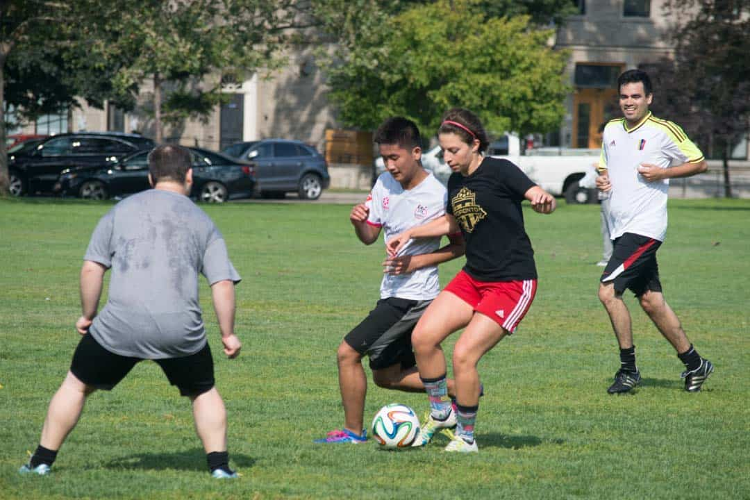 Alicia Luciani playing soccer at front campus. STEVEN LEE/THE VARSITY