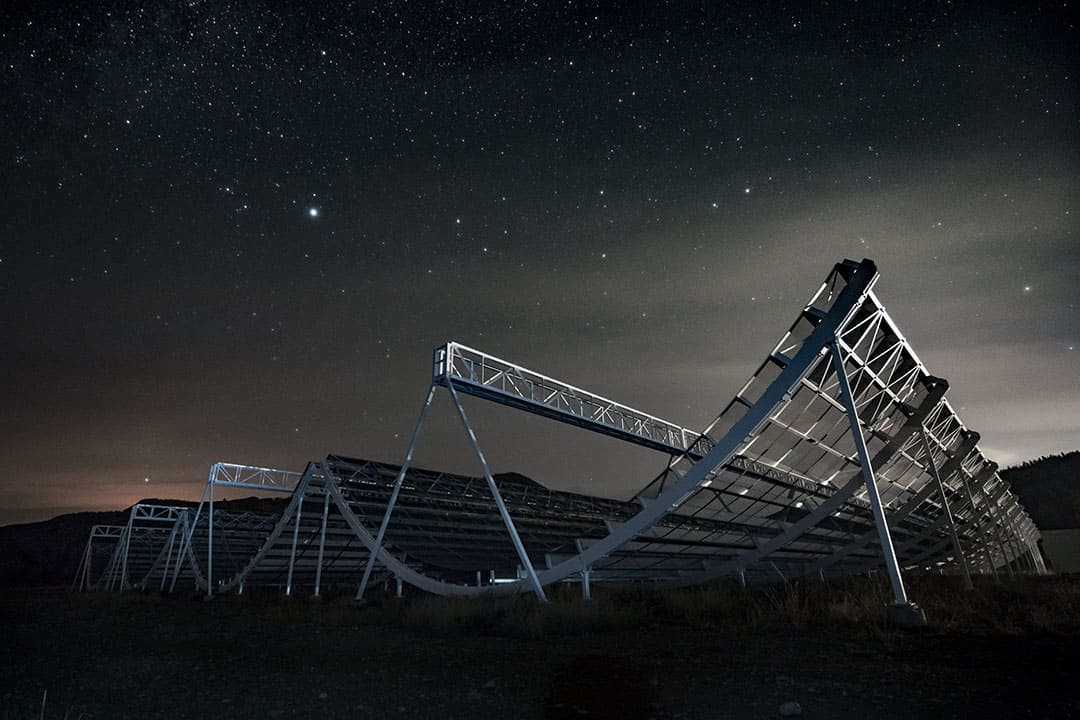 The novel CHIME telescope is a product of a collaboration between 50 Canadian scientists. Photo Courtesty of  ANDRE RENARD. DUNLAP INSTITUTE FOR ASTRONOMY AND ASTROPHYSICS