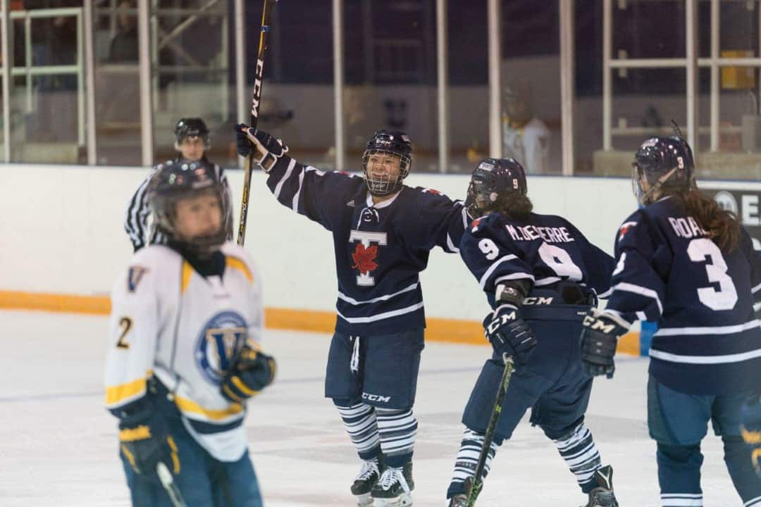 Cristine Chao celebrates the first goal of the game. PHOTO BY HENRY ZHAO, COURTESY OF THE VARSITY BLUES