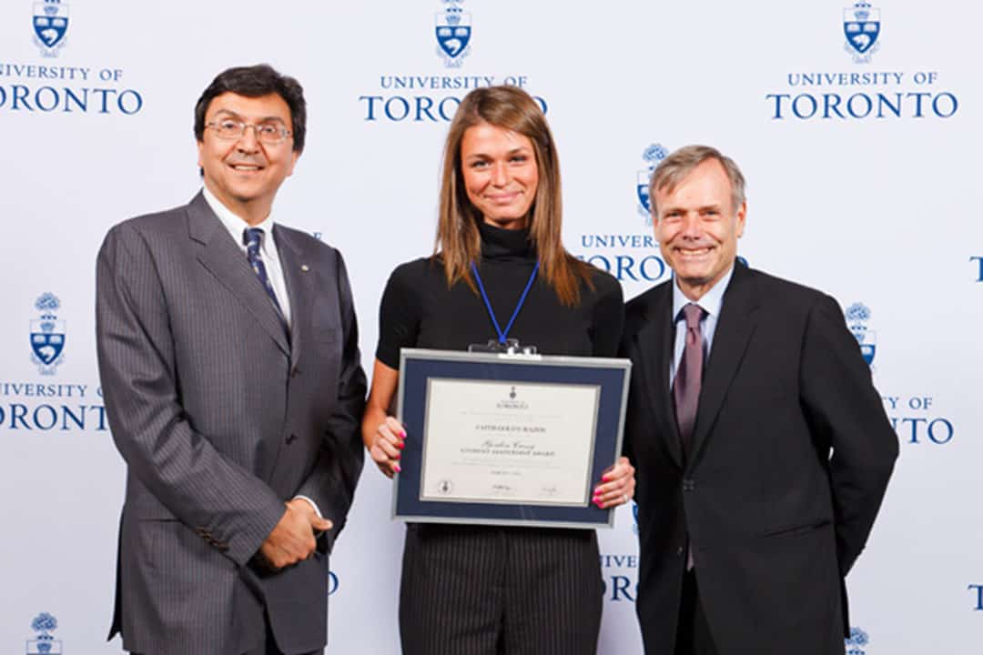 Goldy was awarded the Cressy Award in 2012 while she was a student at Trinity College. PHOTO VIA UNIVERSITY OF TORONTO ALUMNI ASSOCIATION