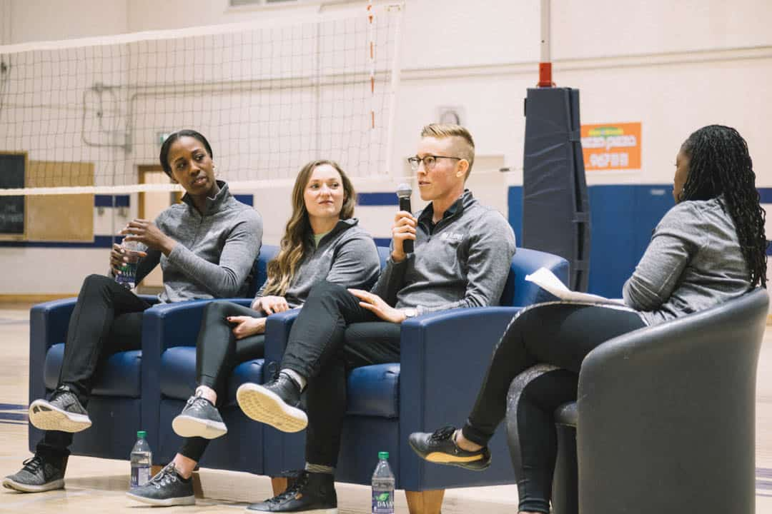 Panelists Tamara Tatham, Rosie MacLennan, and Ali Greey speak at conference. ANDY TAKAGI/THE VARSITY