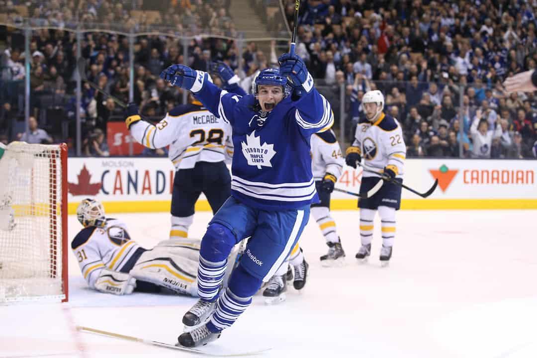 Zach Hyman celebrates his first NHL goal. TOM SZCZERBOWSKI/USA TODAY SPORTS VIA WIKIMEDIA