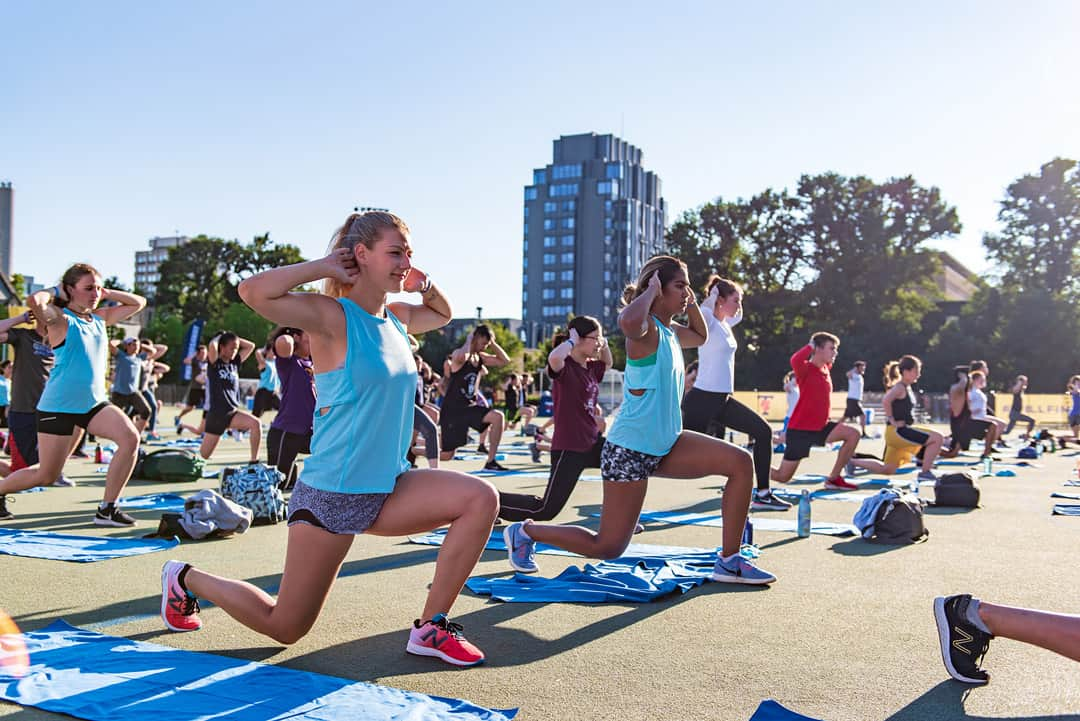 Students work out at Back Campus. RUILIN FU/THE VARSITY