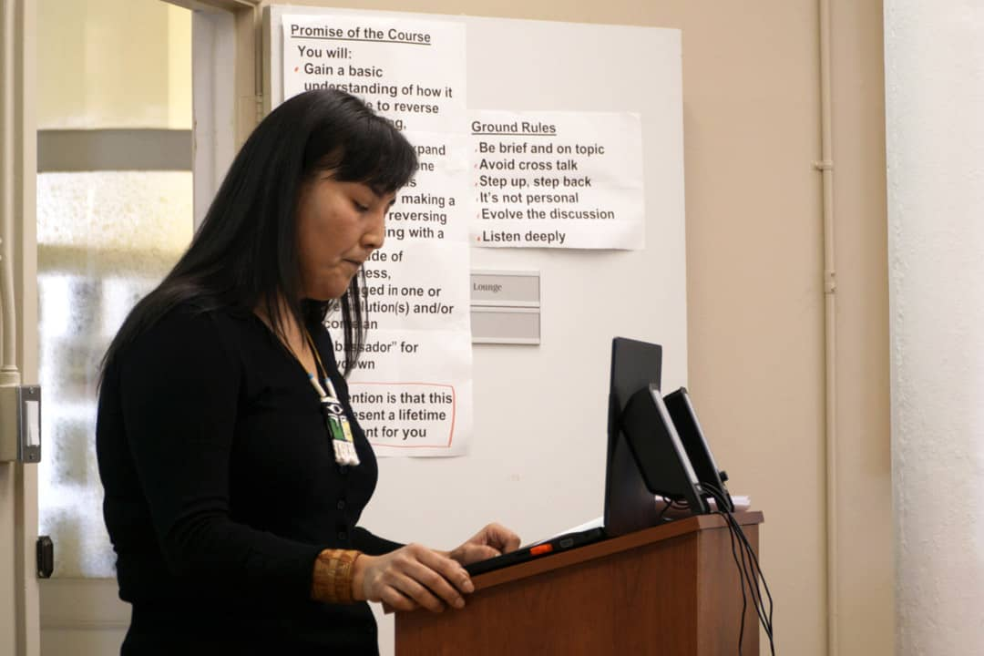 A UTM professor spoke about Indigenous language and song at an Indigenous Education week event. SAMANTHA YAO/THE VARSITY