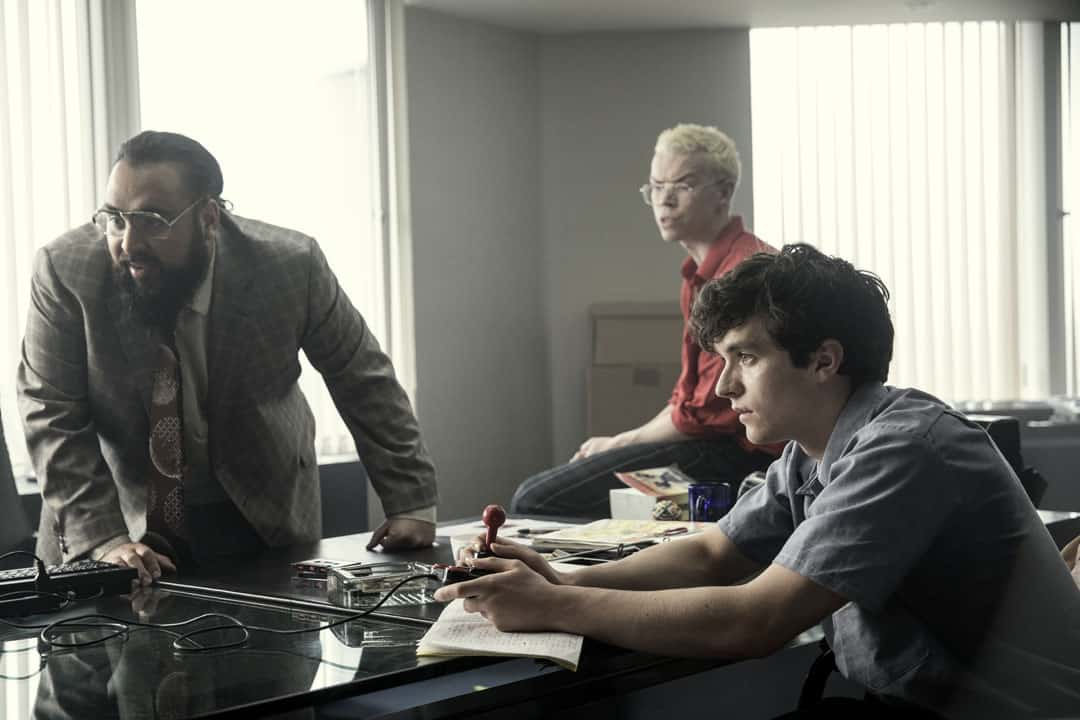 Bandersnatch is Netflix's first interactive film. It stars Asim Chaudhry, Will Poulter, and Fionn Whitehead (from left).  PHOTO COURTESY OF STUART HENDRY, NETFLIX/BLACK MIRROR