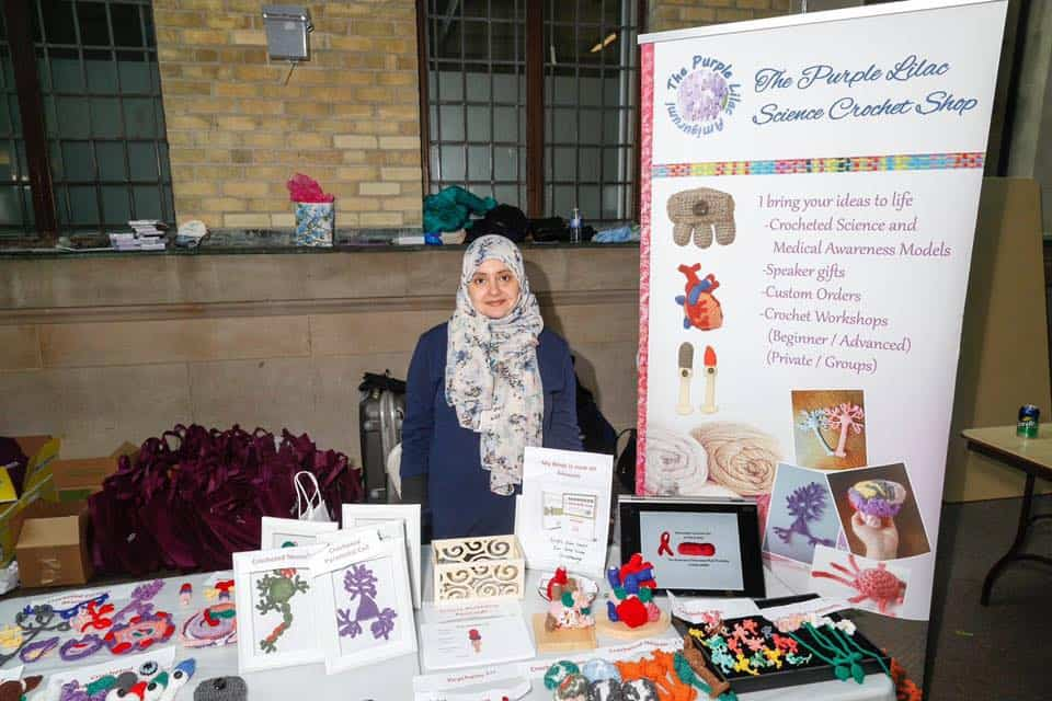 Baakdhah selling crocheted organs and cells at Bahen in October. PHOTO COURTESY OF TAHANI BAAKDHAH