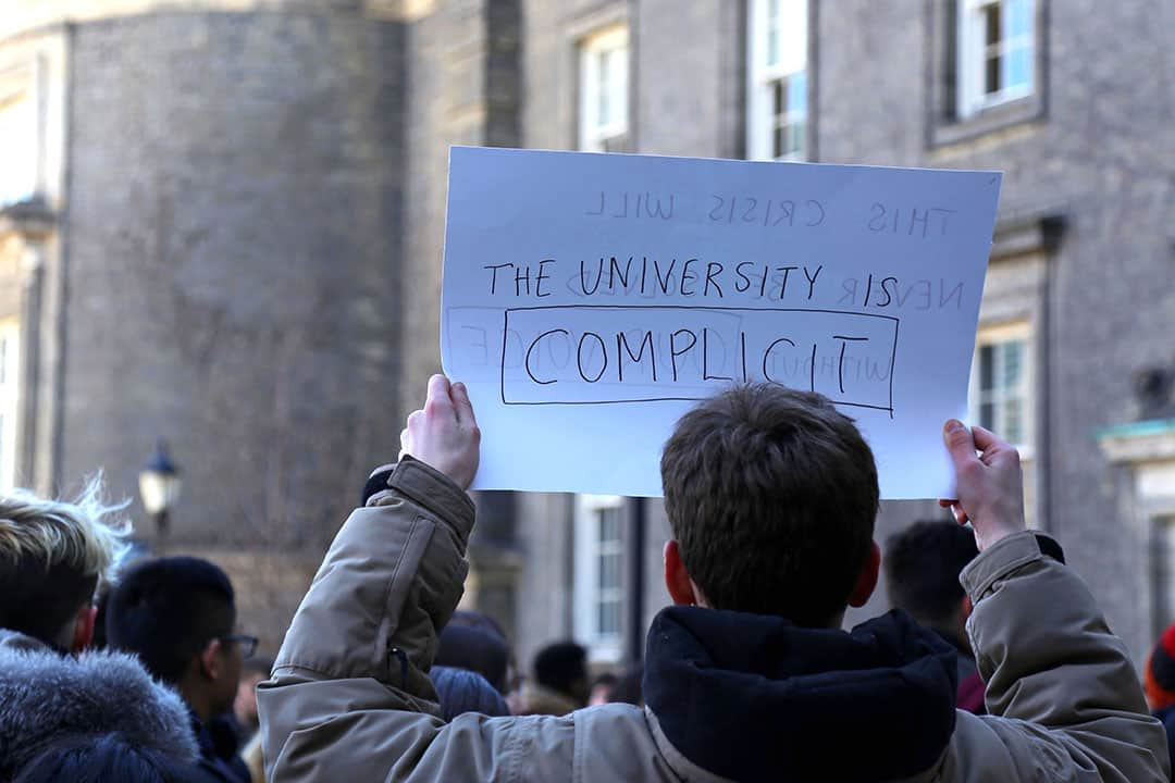 Students protested outside of Simcoe Hall in response to inadequate mental health supports from the university. SHANNA HUNTER/THE VARSITY