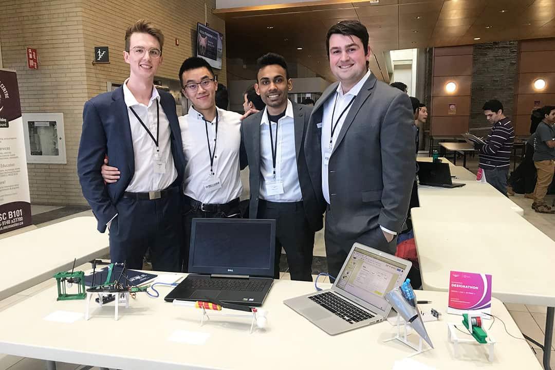 Nick Bajaikine, Kyle Damrell, Christopher Tong, and Mubtaseem Zaman won first place at the Mac Design League Designathon 2019. PHOTO COURTESY OF MUBTASEEM ZAMAN