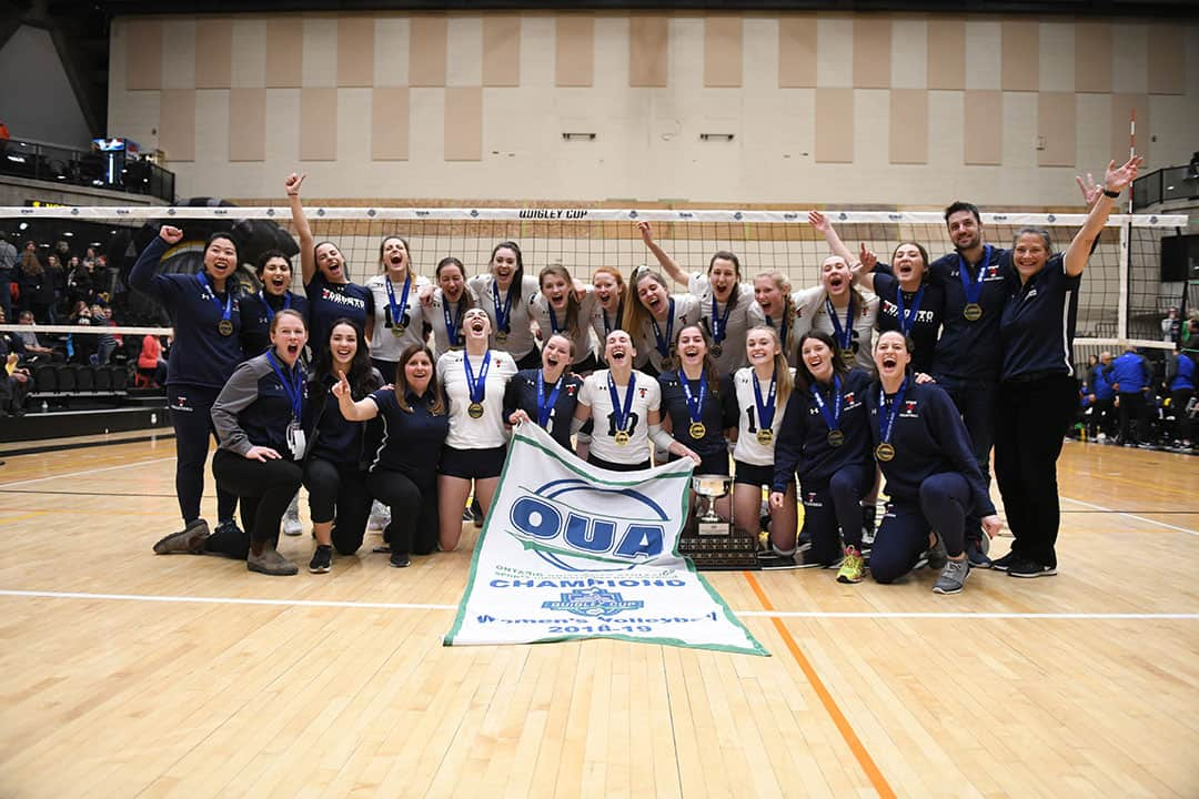The Blues upset nationally top-ranked Ryerson Rams to win the OUA Championship. PHOTO COURTESY OF STEVE BROOKS/WATERLOO WARRIORS