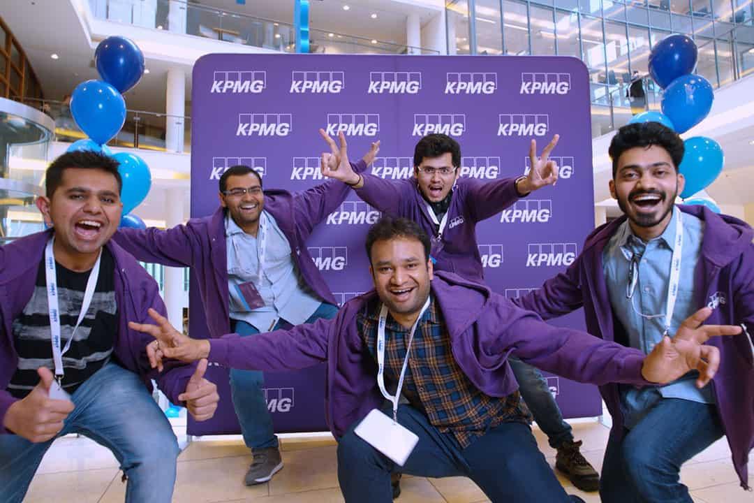 The team members of Paramount AI are Maharshi Trivedi, Nikunj Viramgama, Aakash Iyer, Vaibhav Gupta, and Ganesh Vedula. PHOTO COURTESY OF KPMG INTERNATIONAL | IMAGE HAS BEEN CROPPED