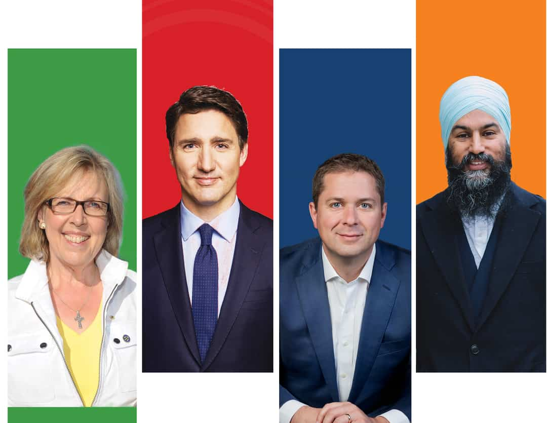 (Left to right) Courtesy of The Green Party of Canada, the Liberal Party of Canada, the Conservative Party of Canada, the New Democratic Party of Canada.