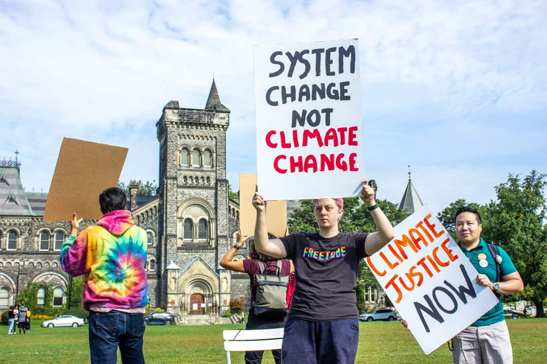 The Global Climate Strike started on September 20, with U of T students participating in a protest outside Simcoe Hall. VICTORIA LEE/THE VARSITY
