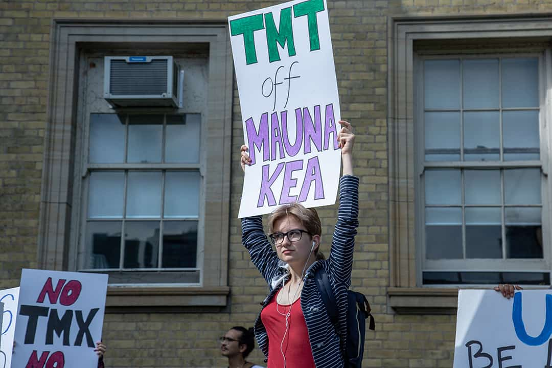 U  of T protestor  rallies against thirty meter telescope at September 20 global climate strike. DINA DONGTHE VARSITY