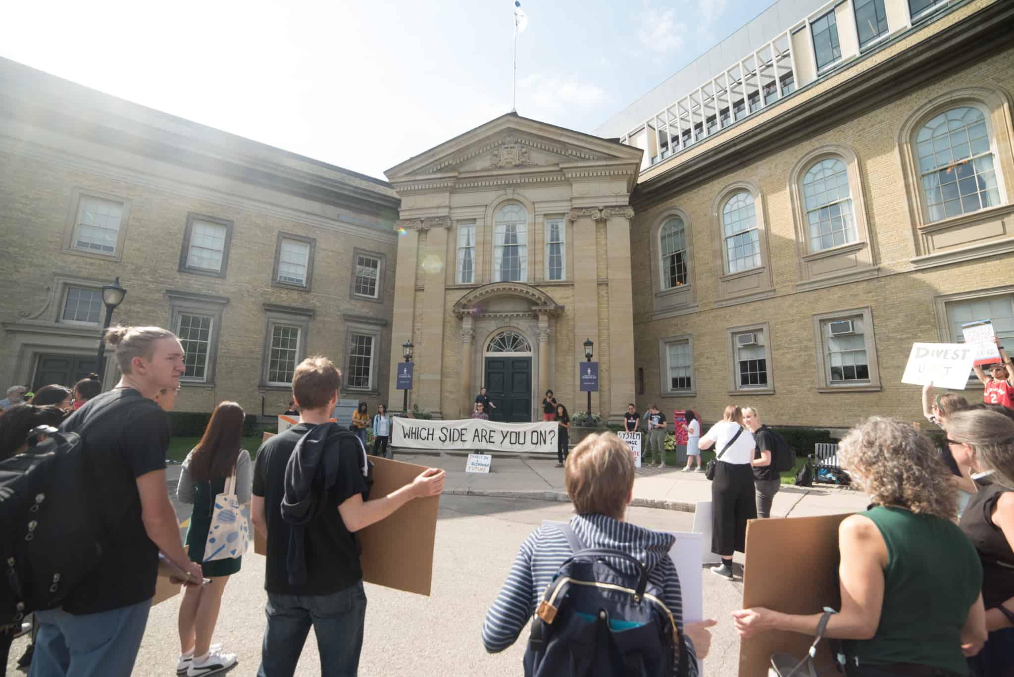 Students protesting outside Simcoe Hall. ANDY TAKAGI/THE VARSITY