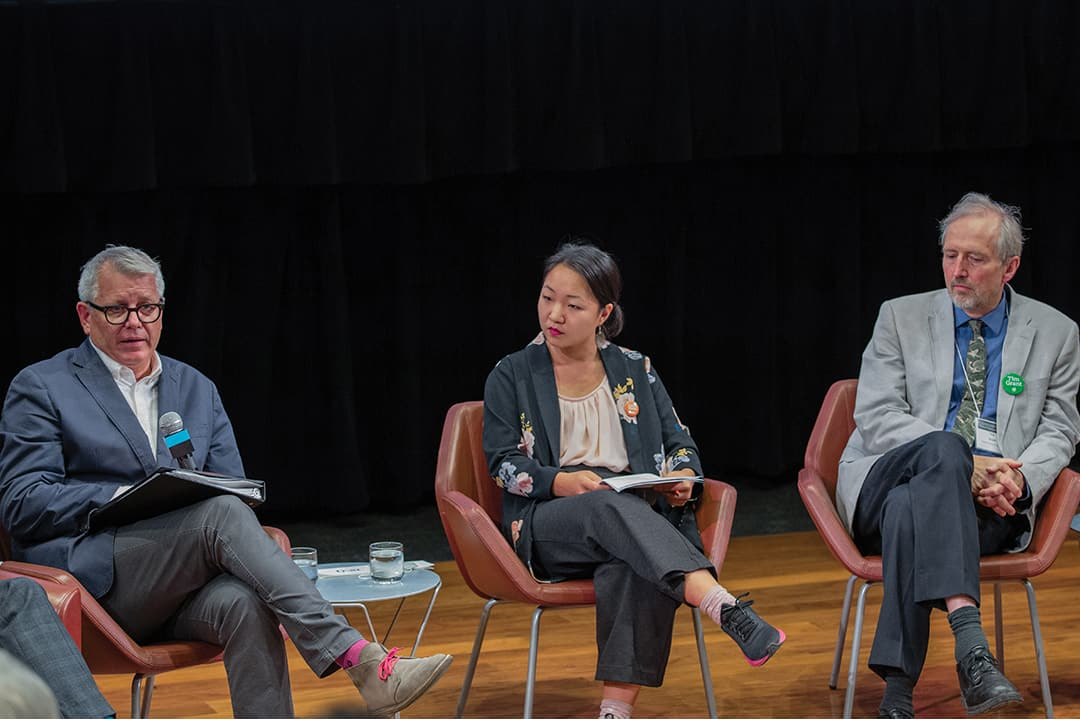 From left to right, Adam Vaughan, Diana Yoon, and Tim Grant attended Tuesday's debate. DINA DONG/THE VARSITY