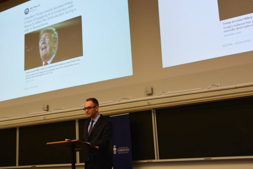 Dale spoke at UTM about fact-checking the Ford brothers and President Donald Trump. MIKAELA TOONE/THE VARSITY