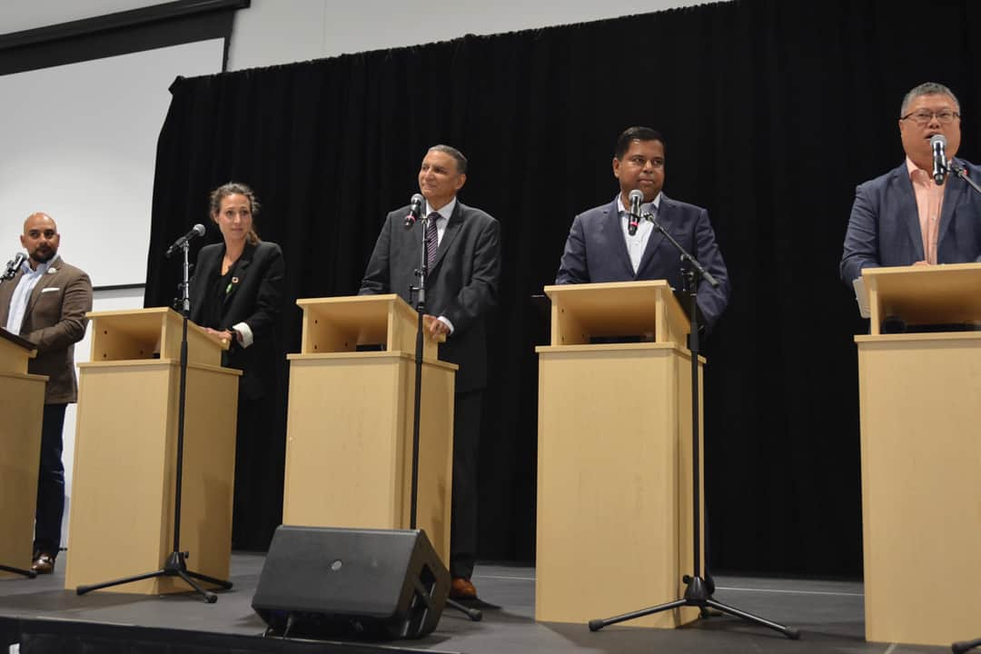From left to right: Conservative Bobby Singh, Green's Jessica Hamilton, PPC's Dilano Sally, Liberal Gary Anandasangaree, and NDP Kingsley Kwok. MIKAELA TOONE/THE VARSITY