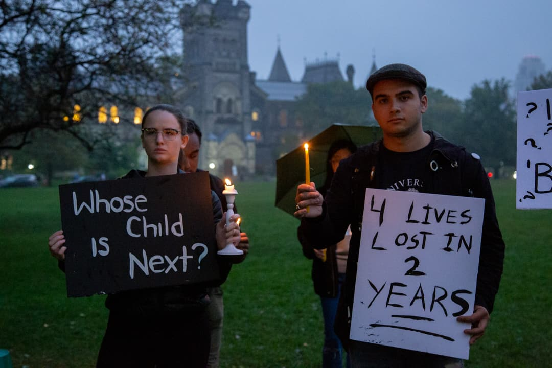 Students participated in a vigil following the protests at the Academic Board. DINA DONG/THE VARSITY