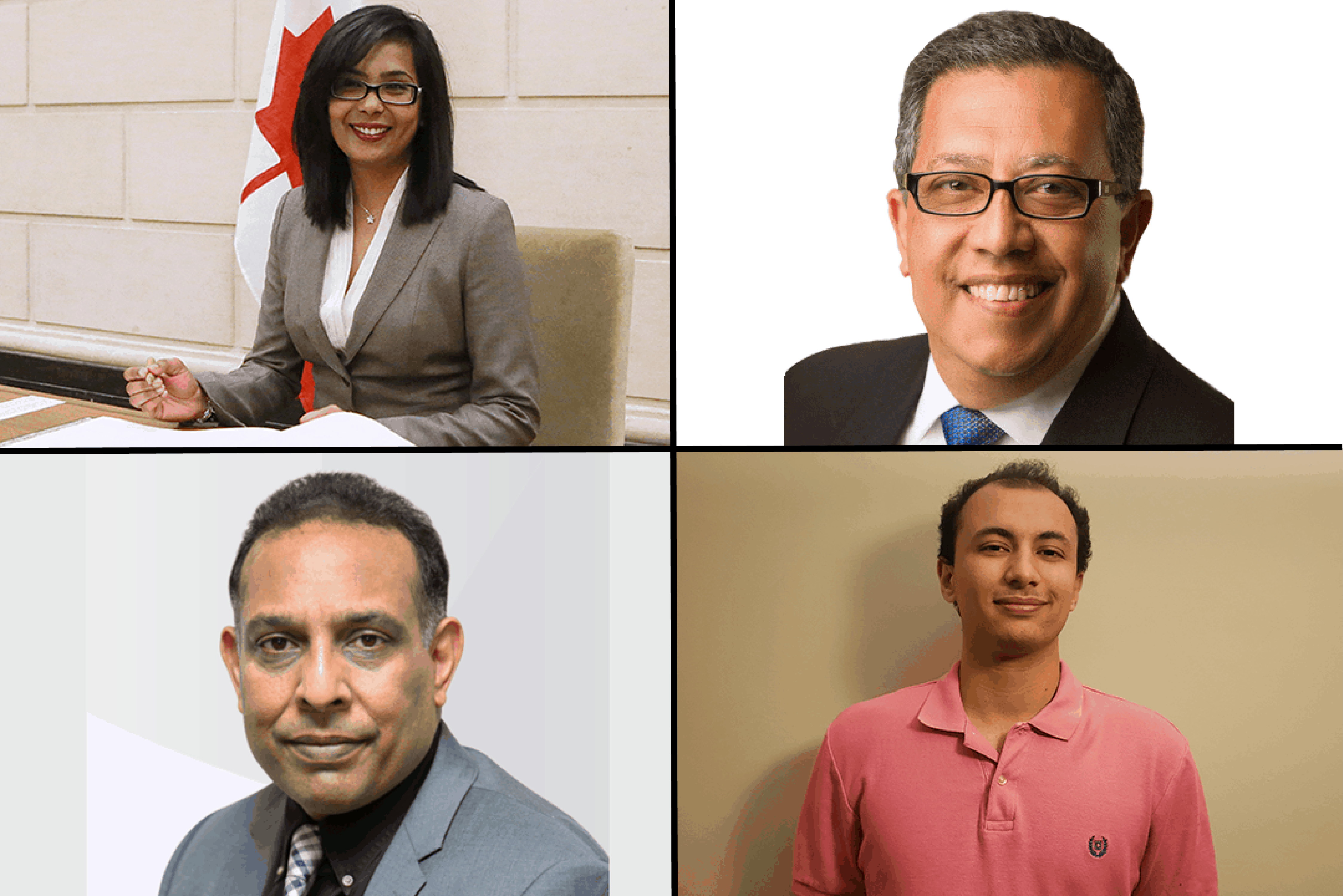 Iqra Khalid, Hani Tawfilis, Salman Tariq, Reno Boscarino-Gaetano. PHOTO COURTESY OF THE CONSERVATIVE PARTY OF CANADA, THE LIBERAL PARTY OF CANADA, THE NEW DEMOCRATIC PARTY,  THE GREEN PARTY OF CANADA | IMAGE HAS BEEN CROPPED