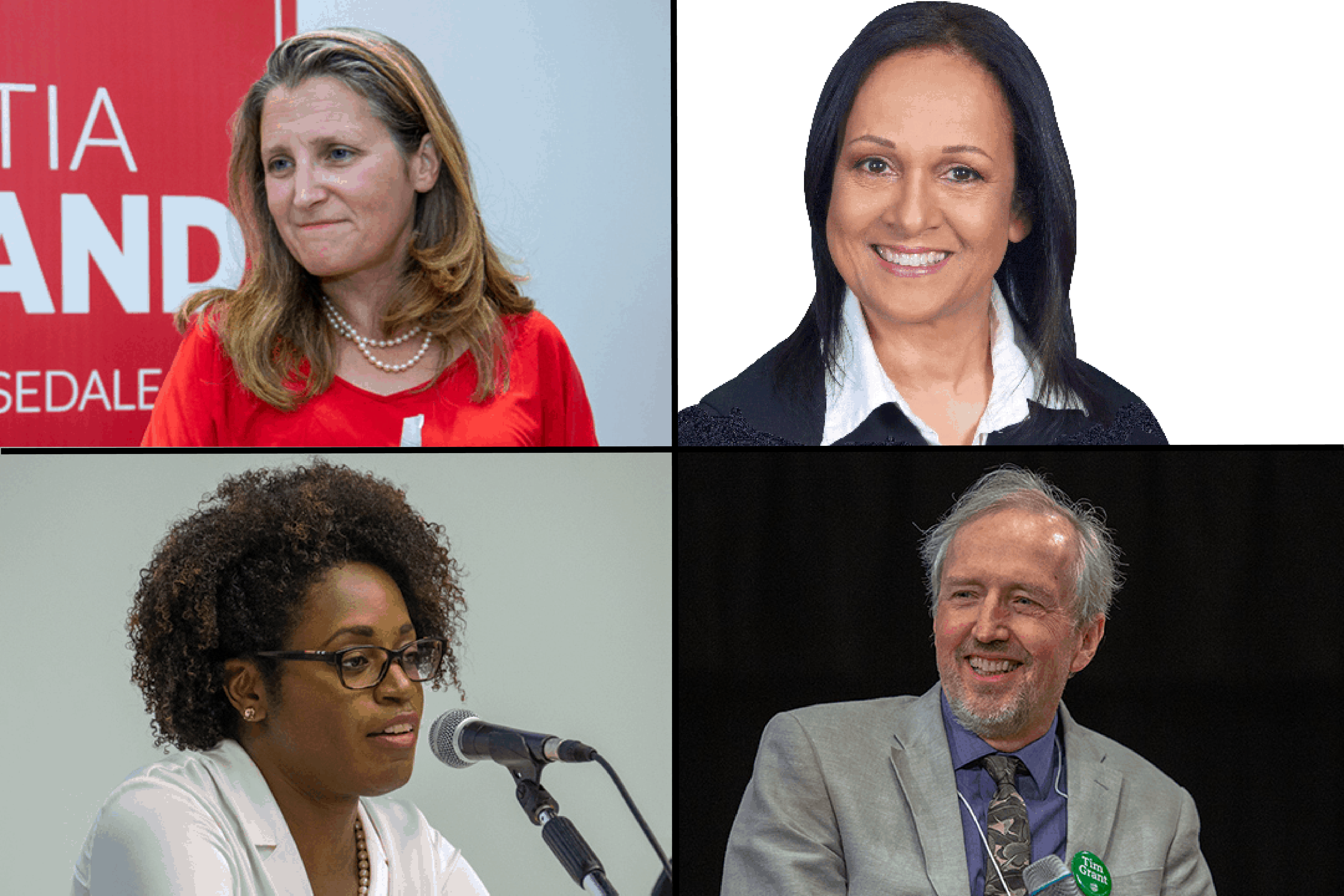 Chrystia Freeland, Helen-Claire Tingling, Melissa Jean-Baptiste Vajda, Tim Grant. DINA DONG/THE VARSITY, PHOTO COURTESY OF CONSERVATIVE PARTY OF CANADA | IMAGE HAS BEEN CROPPED