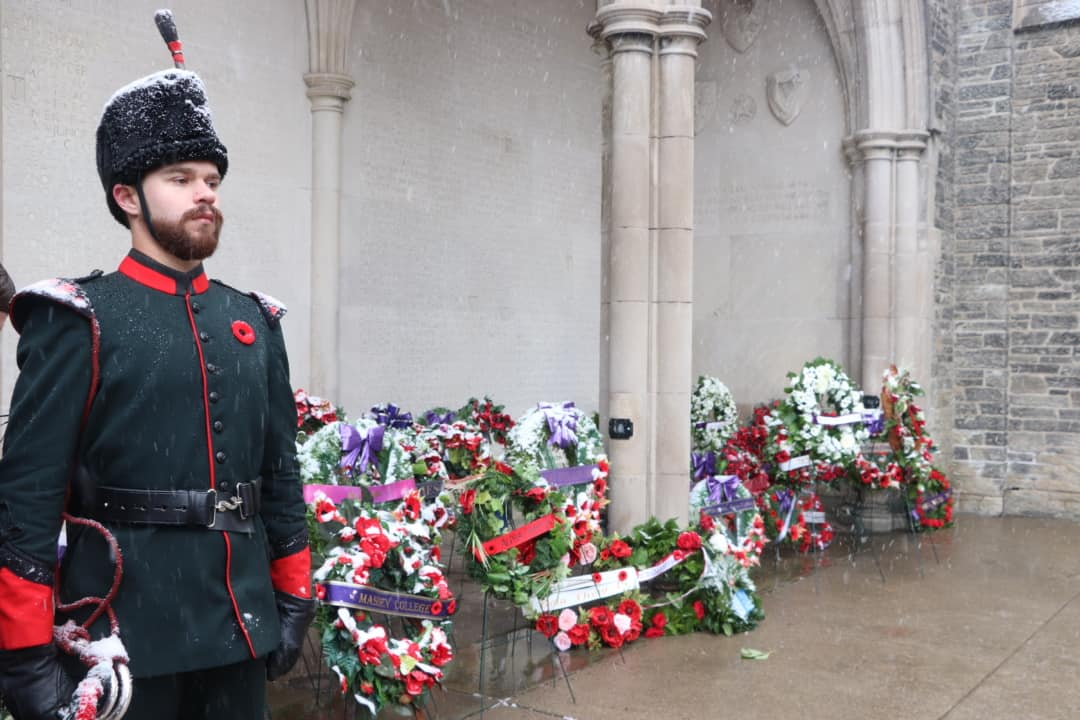 Wreaths laid down by attendants at Soldiers' Tower on Remembrance Day. KATHRYN MANNIE/THE VARSITY