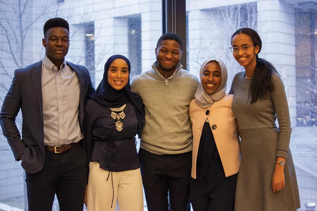 The organizers of the Black Career Conference from left to right: Jeffrey Fasegha, Zainab Hamid, Judson Asiruwa, Ayesha Mohammed, and Jasmine Ali. SRIVINDHYA KOLLURU/THE VARSITY
