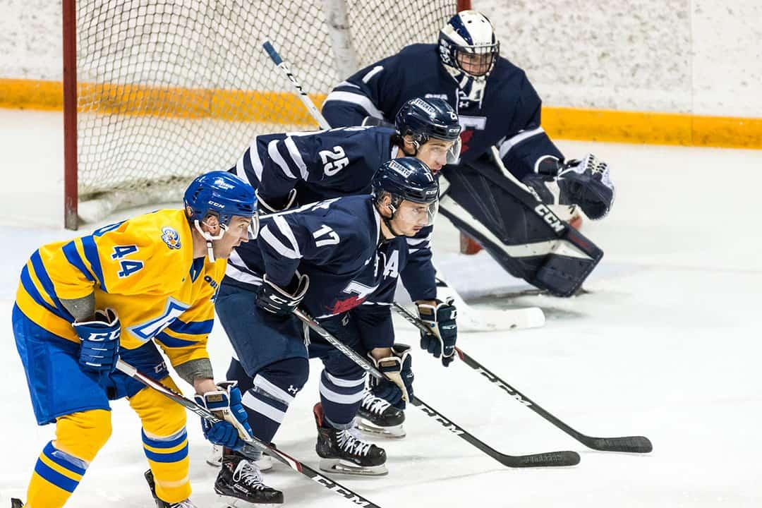 The Blues men's hockey team broke their winning streak in a tight affair with their crosstown rivals. COURTESY OF SEYRAN MAMMADOV/VARSITY BLUES