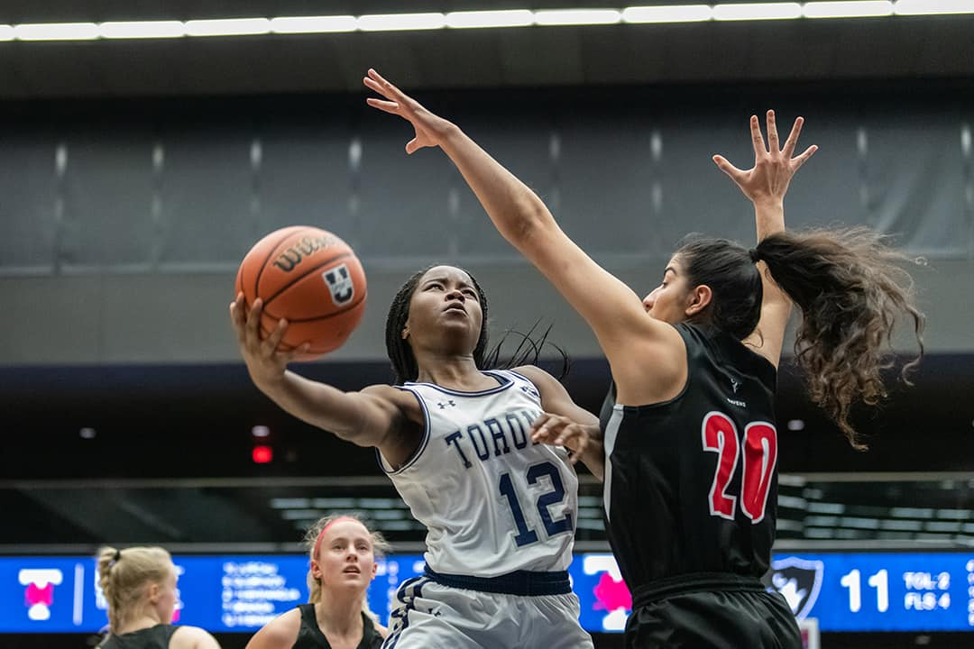 Mikhaela was the Blues' leading rebounder with seven rebounds and five points. COURTESY OF HENRY ZHAO/THE VARSITY