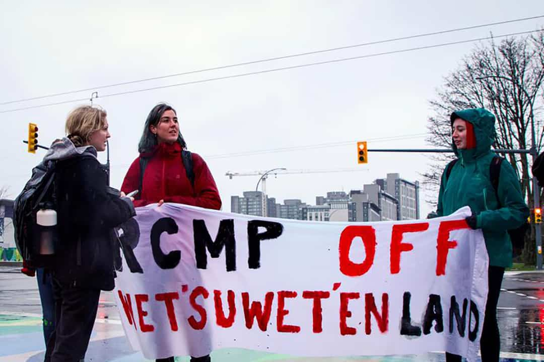 Canada-wide protests against the Coastal GasLink pipeline in solidarity with the Wet'suwet'en land defenders.  COURTESY OF SARAH ZHAO/THE UBYSSEY