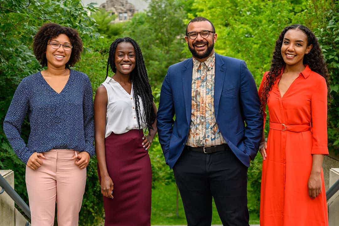 From left to right: U of T law students and alumni Rebecca Barclay Nguinambaye, Novalee Davy, Solomon McKenzie, and Marie Kiluu-Ngila.  COURTESY OF FACULTY OF LAW