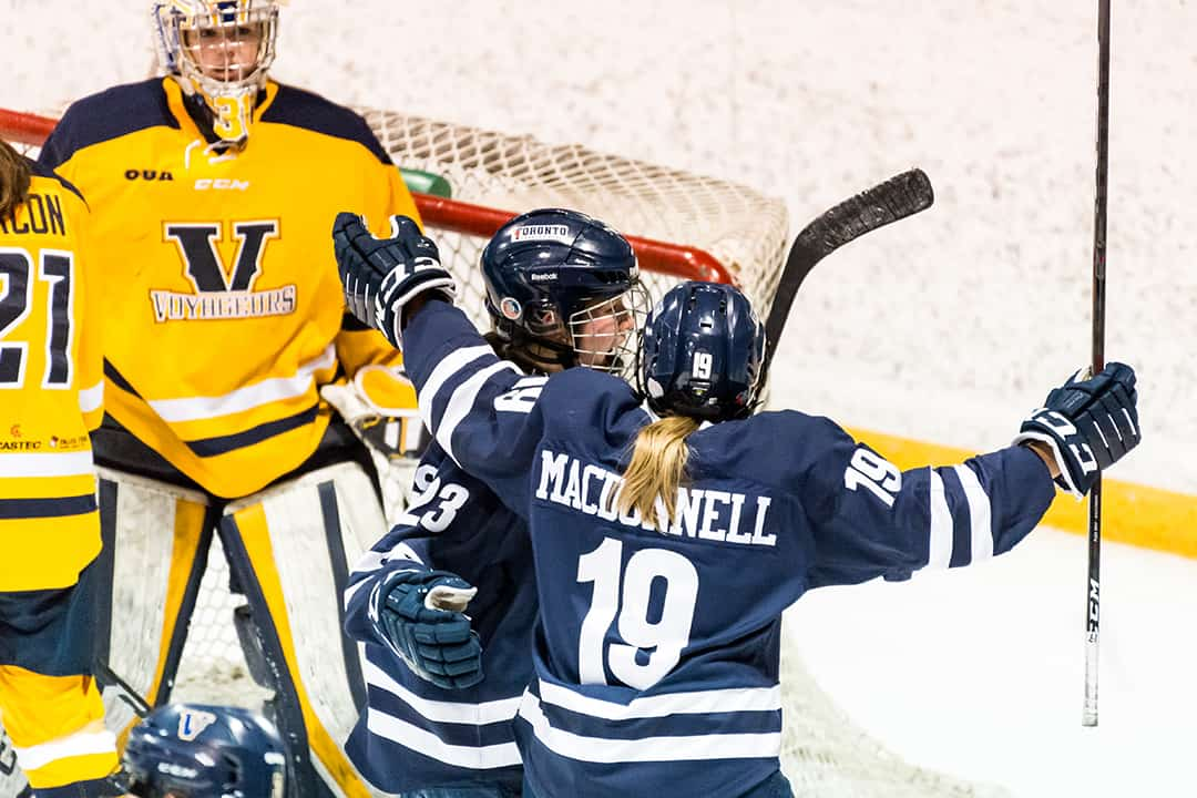With this win, the women's hockey team clinched the top spot in the OUA standings.  COURTESY OF SEYRAN MAMMADOV/VARSITY BLUES