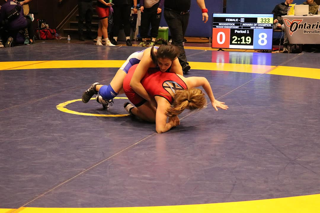 Saxena has represented Team Canada in wrestling championships. COURTESY OF KIRTI SAXENA