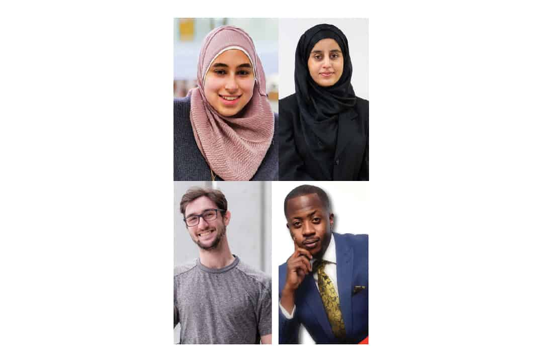 From top left to right: Ayah Abdeldayem (COURTESY OF AYAH ABDELDAYEM); Aaliya Hakak (HANNAH CARTY/THE VARSITY)  From bottom left to right:  Chaim Katz (COURTESY OF CHAIM KATZ); Lwanga Musisi (COURTESY OF LWANGA MUSISI)