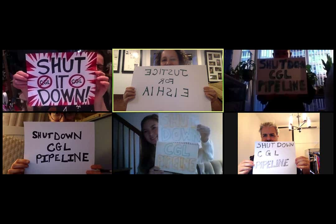 The Solidarity with Wet'suwet'en group held a sign-making session on Zoom. COURTESY OF VANNINA SZTAINBOK